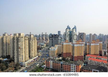 China Shanghai Puxi skyline - stock photo