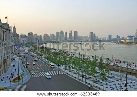 China Shanghai the new Bund at sunset - stock photo