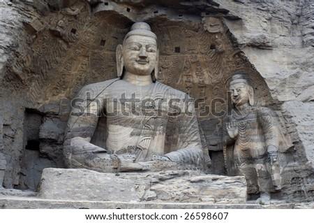 China/shanxi:Stone carving of Yungang grottoes, tall buddha - stock photo