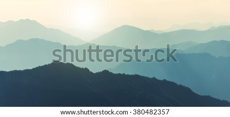 China Sunrise Mountain downs - stock photo