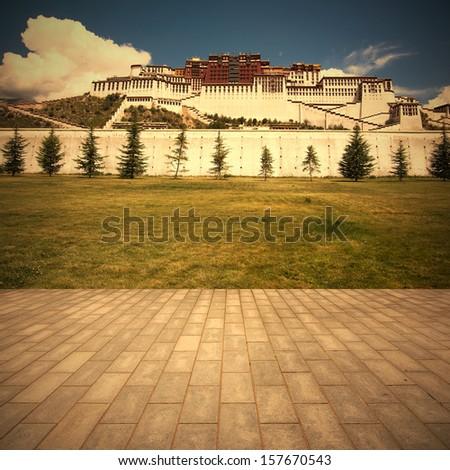 china tibet Potala Palace corridor - stock photo