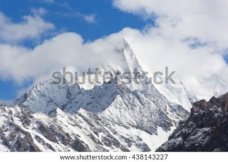 China Tibet Snow Mountain Peak - stock photo