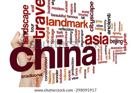 China word cloud - stock photo