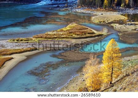 China/xinjiang hiking: Fall colors of lying dragon bay in kanas - stock photo