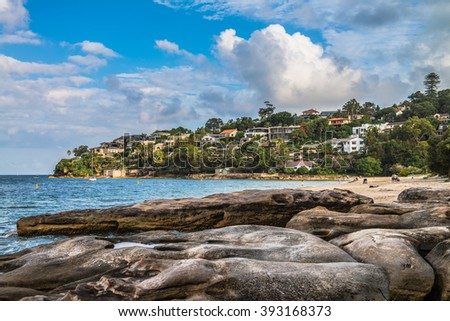 Chinamans Beach - overlooking a calm and sheltered beach strip in north Sydney. - stock photo