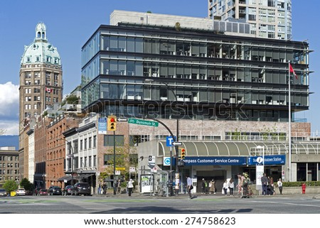 CHINATOWN STATION - MAY 2, 2015: SkyTrain is important Metro Vancouver rapid transportation, in service since December 1985. Station 'Chinatown' is located on Dunsmuir and Beatty streets. BC, Canada. - stock photo