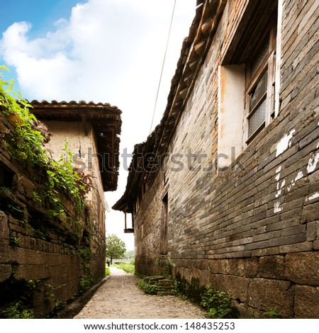 Chinese ancient buildings of the old town: alley - stock photo