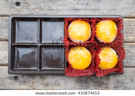 Chinese ancient dessert called 'Pia', Chinese pastry or moon cake, Traditional delicious cake in asia - stock photo