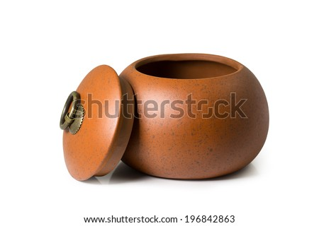Chinese ancient pot isolated on white - stock photo
