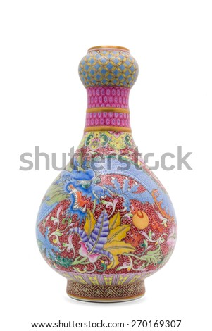 Chinese antique Dragon vase, Museum quality, isolate on white background - stock photo
