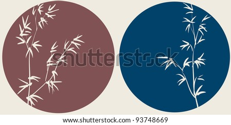 Chinese bamboo branches on circle background - stock photo