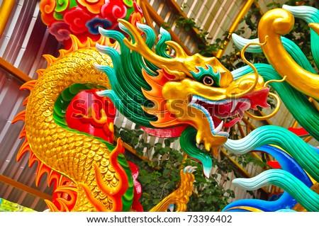 Chinese beautiful dragon - stock photo
