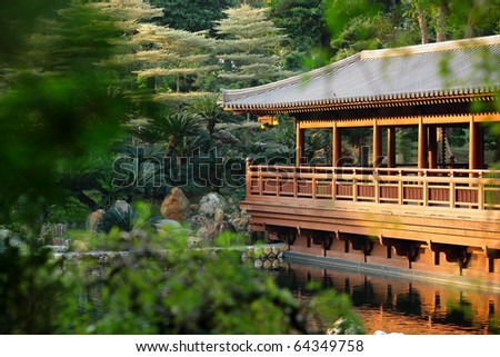 chinese building in garden - stock photo