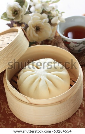 Chinese Bun and tea for breakfast - stock photo