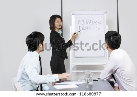 Chinese Business men and women discussing finance results. - stock photo