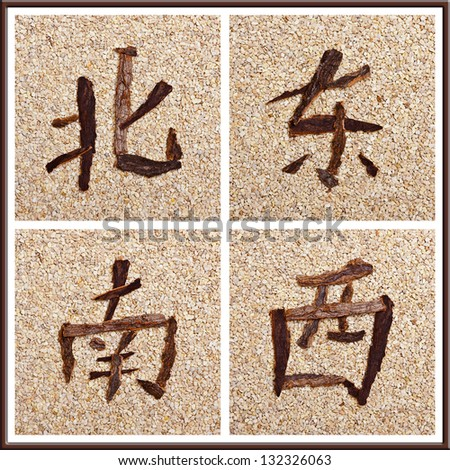 Chinese character for all directions, stony background - stock photo