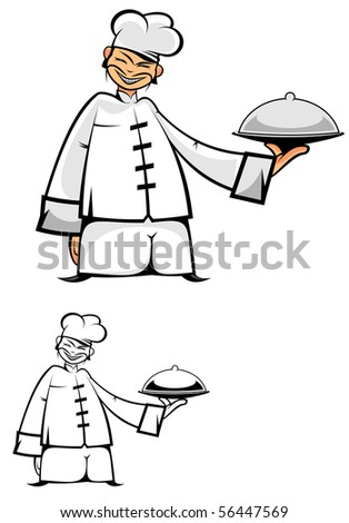 Chinese chef in uniform. Vector version also available in gallery - stock photo