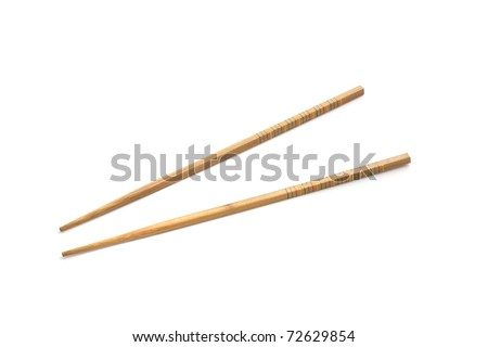 Chinese Chopsticks isolated in white background - stock photo