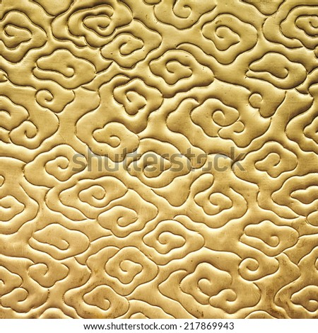 Chinese cloud pattern gold color texture Asian background - stock photo