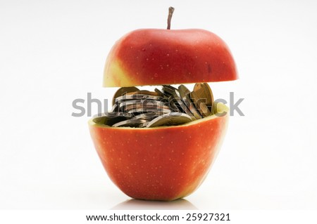 Chinese coins in red apple - stock photo