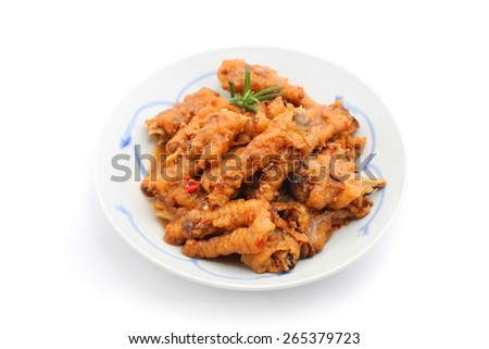 Chinese Cooked Chicken Feet isolated on white - stock photo