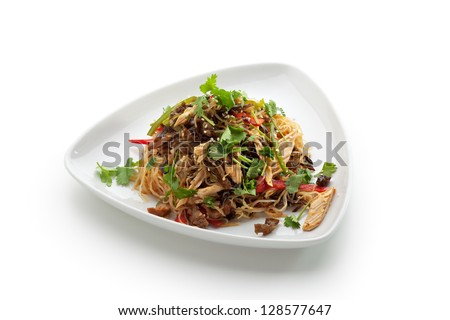 Chinese Cuisine - Crystal Noodles with Beef and Asparagus - stock photo