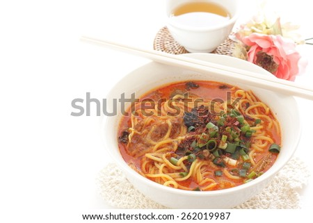 Chinese cuisine, Tan Tan noodle and tea  - stock photo