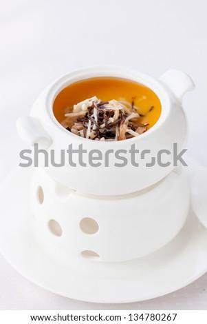 Chinese Cuisine: the cream of mushroom soup - stock photo