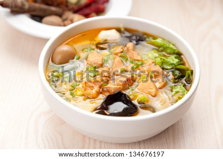 Chinese cuisine, Yunnan vermicelli many kinds of spices - stock photo