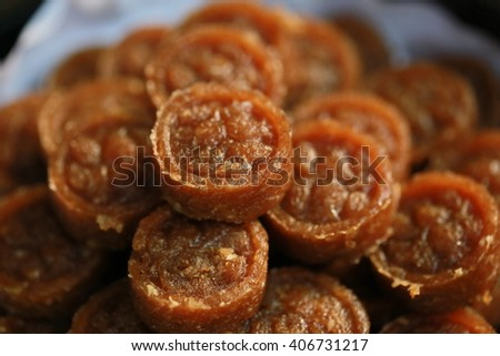 Chinese dessert, sweet nut dessert, food - stock photo