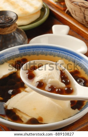 Chinese dessert, Tofu pudding with tapioca ball - stock photo