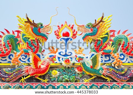 Chinese dragon at a temple - stock photo