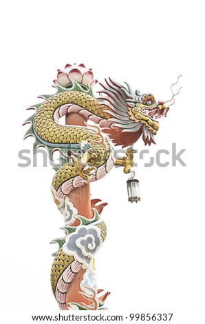 chinese dragon on pole in temple - stock photo
