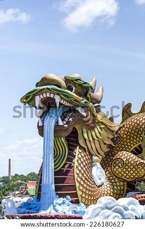 Chinese Dragon statue,Supanburi, Thailand.  - stock photo
