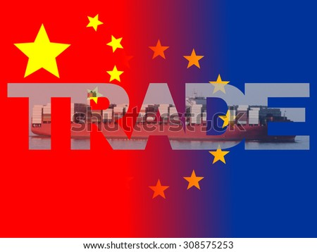 Chinese EU flags with trade text illustration - stock photo