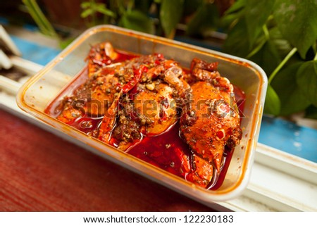 Chinese fast food, spicy crab - stock photo