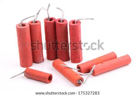 chinese firecracker isolated on white background - stock photo