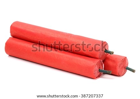 Chinese firecrackers isolated on white background - stock photo