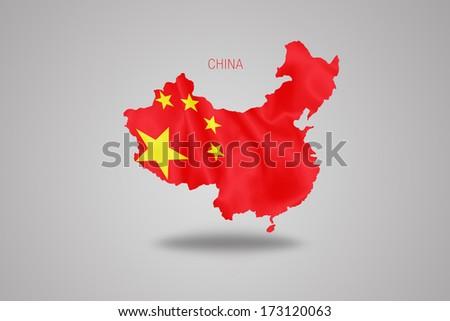 Chinese flag on China map isolated on grey background. - stock photo