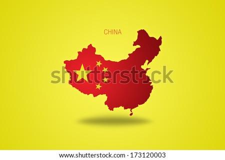 Chinese flag on China map isolated on yellow background. - stock photo