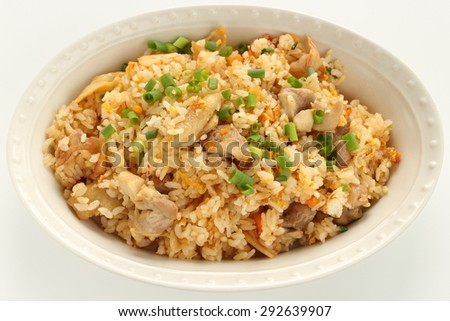 Chinese food, chicken and egg fried rice - stock photo