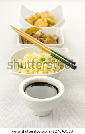 Chinese food dishes cantonese rice, noodles, beef with bamboo - stock photo