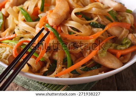 Chinese food: fried noodles with chicken and vegetables macro. horizontal  - stock photo