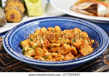 Chinese food-Fried salted eggs with egg tofu - stock photo