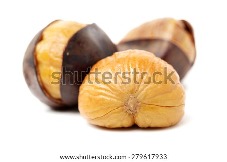 chinese food, peeled roasted chestnut on white background - stock photo