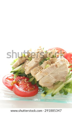 Chinese food, steamed chicken and vegetable with sesame sauce for appetizer - stock photo