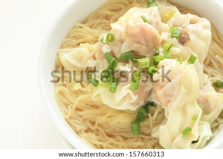 Chinese food, Wonton and noodle for traditonal gourmet dumpling image - stock photo