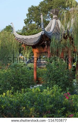 Chinese garden in Hong Kong - stock photo