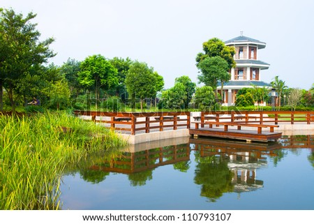 Chinese garden landscape - stock photo