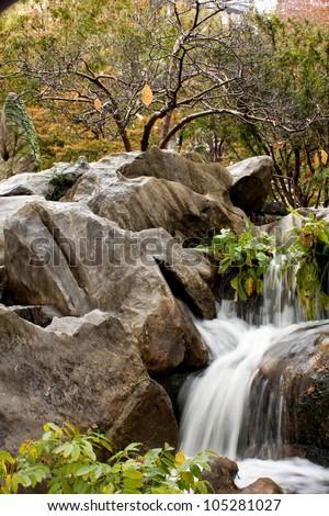 Chinese garden Waterfall - stock photo